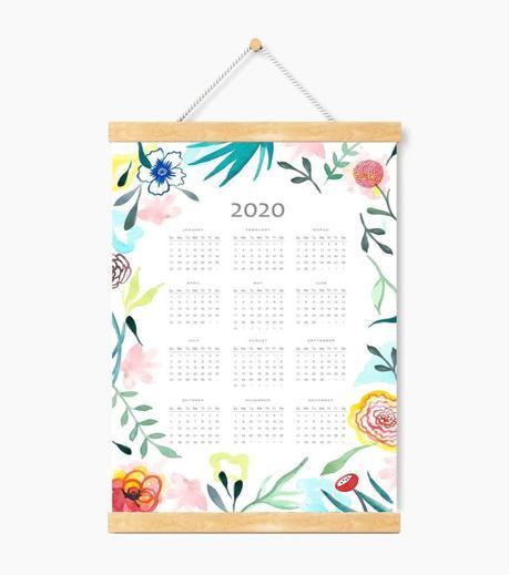 calendrier déco murale inspiration florale suspension ficelle bois