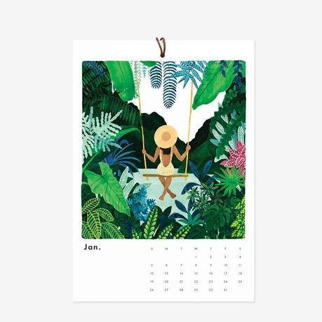 calendrier dessin exotique plante verte fleurs balançoire