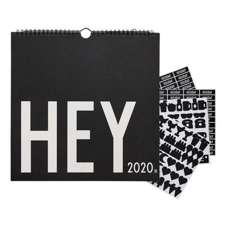 agenda calendrier spiral noir blanc message stickers