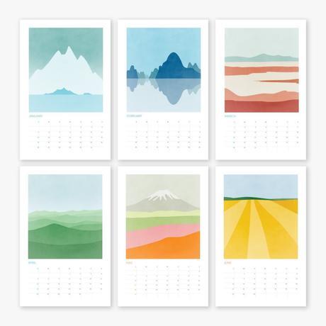 calendrier illustration abstraite montagne colline nuance pastel clemencearoundthecorner