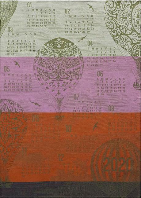 Torchon Calendrier 2020 effet Montgolfière violet pourpre rouge orange