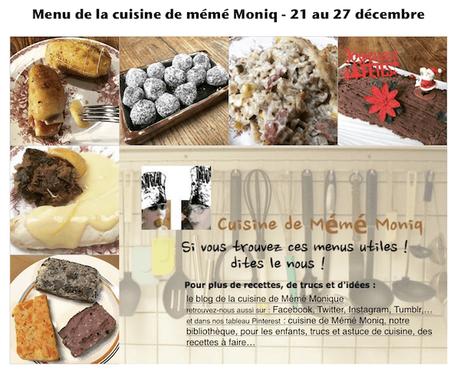 nos menus de la semaine du 21 au 27 décembre