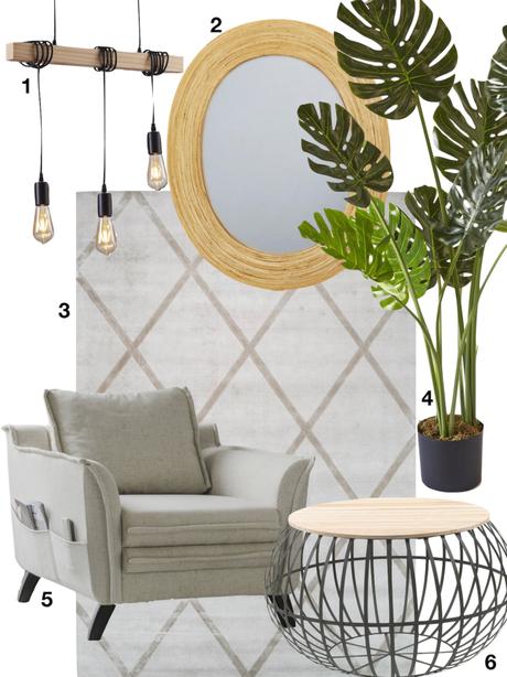 coin lecture bohème miroir rotin fauteuil effet lin plante artificielle - blog deco - clematc