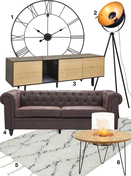shopping liste salon design industriel horloge lampadaire tapis table basse cheminée meuble - blog déco - clemaroundthecorner