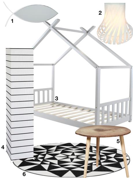 bobochic tendance chambre enfant structure lit maison tapis luminaire miroir poisson - blog déco - clematc