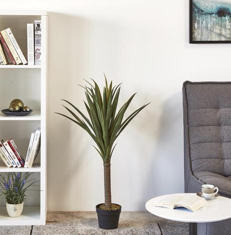 plante artificielle bobochic déco intérieure canapé gris - blog déco - clematc
