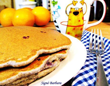 Pancakes au sarrasin, lin et bleuets