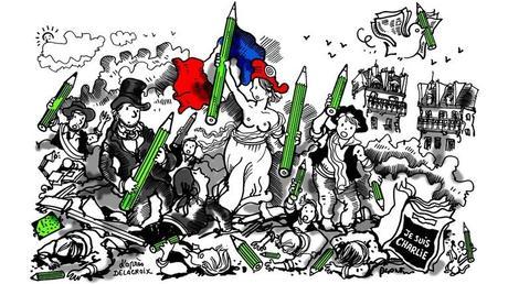 «La Liberté guidant le peuple, d'après Delacroix» Feutre noir sur papier, coul. num., Le Monde, 10 janvier 2015, Liberté d'expression, Je suis Charlie. Plantu/BNF