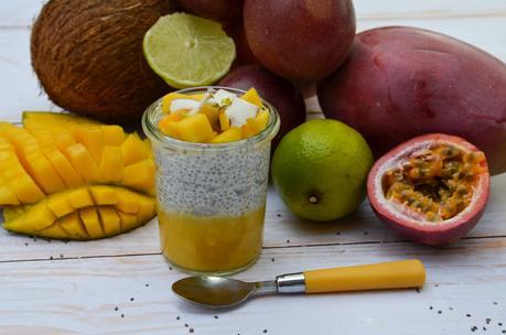 Chia pudding exotique (coco, mangue passion)