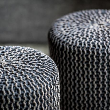 tabouret gris coton pouf poire tendance salon scandinave