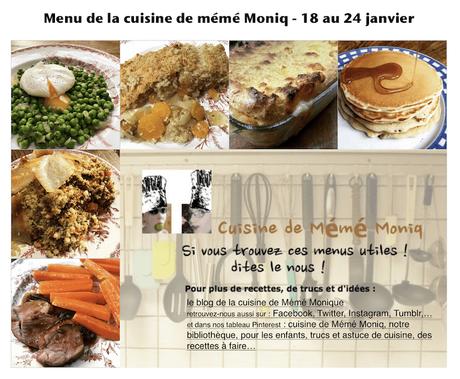 menus de la semaine du 18 au 24 janvier