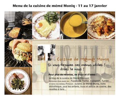 menus de la semaine du 11 au 17 janvier