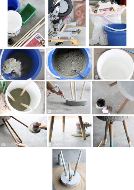 tabouret en béton diy tutoriel bricolage peinture ponceuse seau - blog déco - clem around the corner