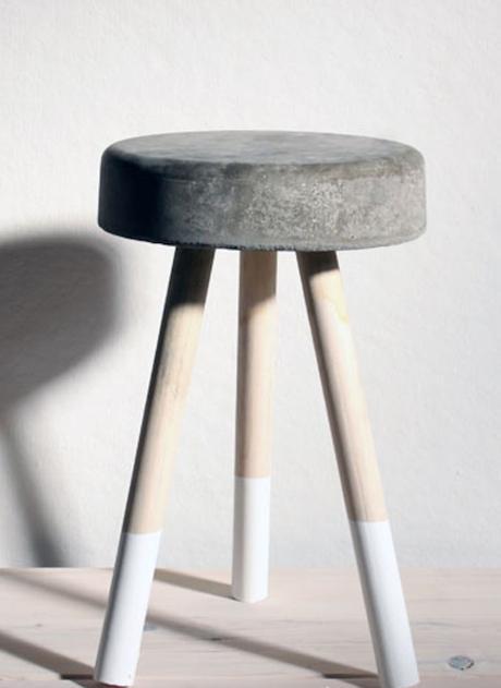 tabouret en béton diy gris blanc blanc bois style sobre - blog déco - clem around the corner