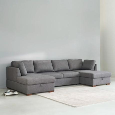 salon tendance sofa gris 7 places en U - blog déco - clematc