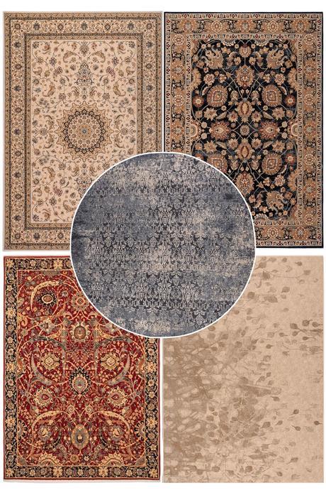 tapis moldave en laine rond bleu moderne motif délavé