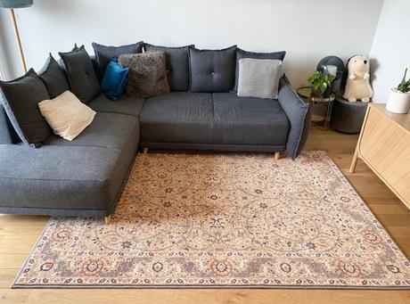 tapis moldave en laine pas cher grand salon beige rose design