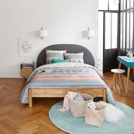 soldes hiver 2020 la redoute tête de lit molletonnée grise scandinave confortable rangement