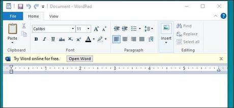 Microsoft teste des publicités discrètes dans WordPad