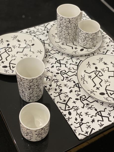 vaisselles motifs graphiques noir et blanc jain monop tasse assiette - blog déco - clematc
