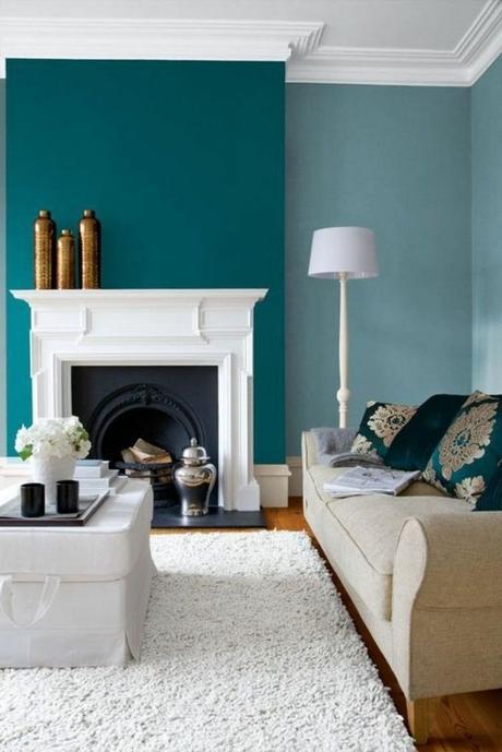 salon vintage élégant cheminée moulure style nordique