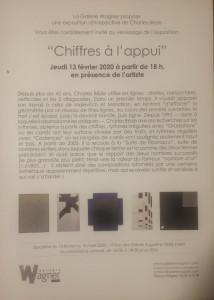 Galerie WAGNER  exposition Charles BEZIE « Chiffres à l'appui » 13 Février au 14 Mars 2020