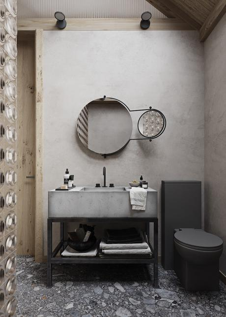 visite déco maison zen mobilier de sallede bain sol en pierre meuble béton - blog déco - clemaroundthecorner