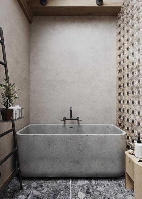 visite déco maison zen salle de bain béton baignoire- blog déco - clemaroundthecorner
