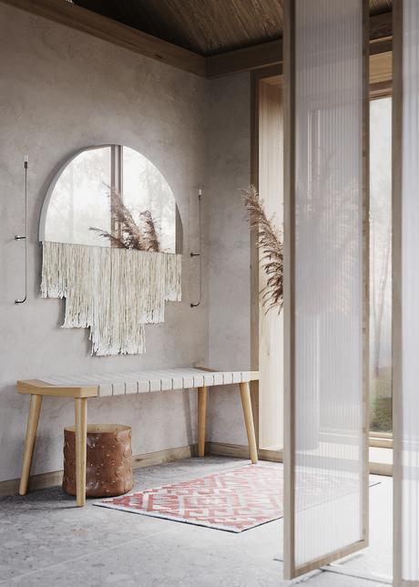 hall d entrée maison zen miroir banc en bois - blog décoration - clematc