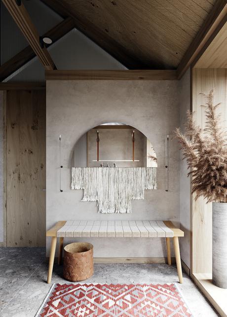 visite déco maison ambiance zen hall entrée miroir bohème tapis motif tribal - blog déco - clematc