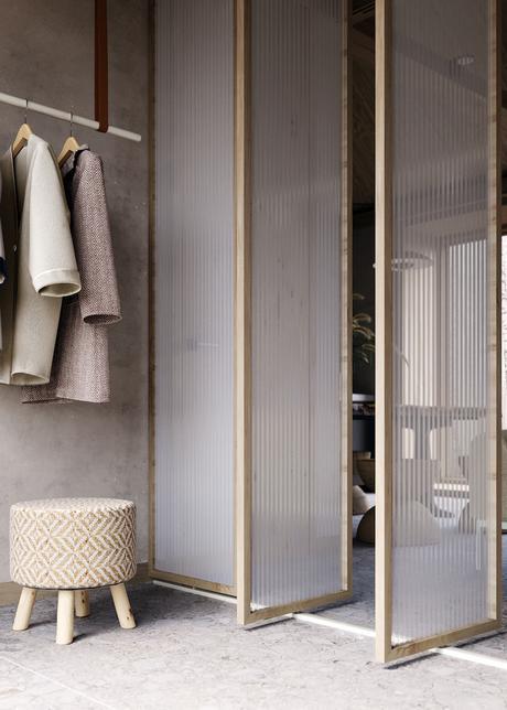 hall d entrée maison dressing cloisons en PVC transparentes pivotantes déco décoration intérieure