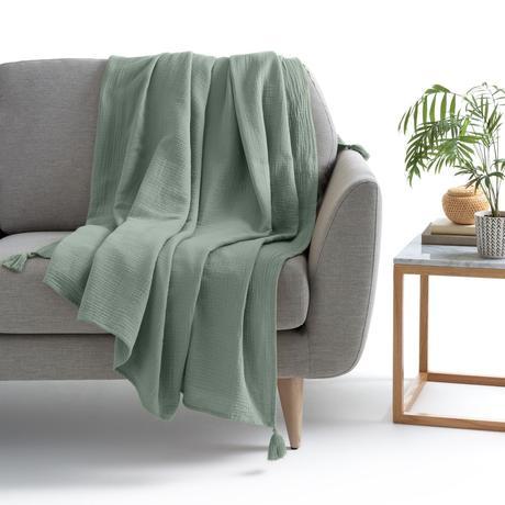 déco vert olive plaid gaze de coton pas cher - blog décoratrice intérieur - clem around the corner