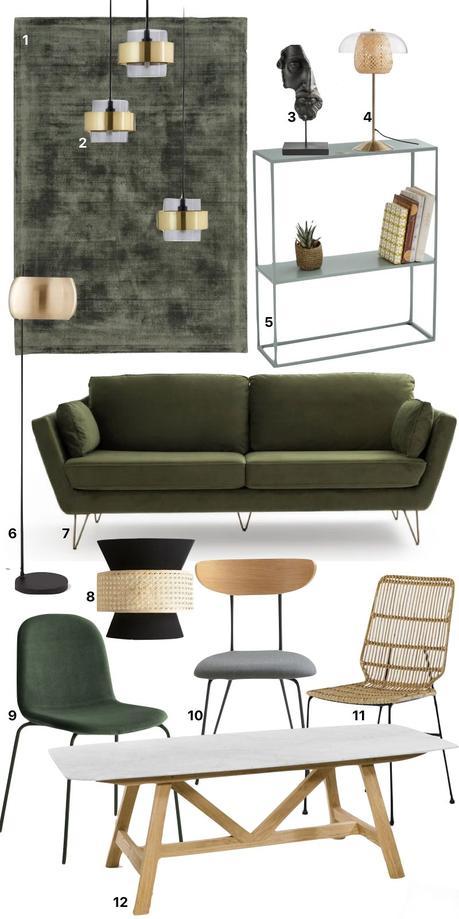 idée déco vert olive salon velours lampe laiton chaise dépareillée bois rotin