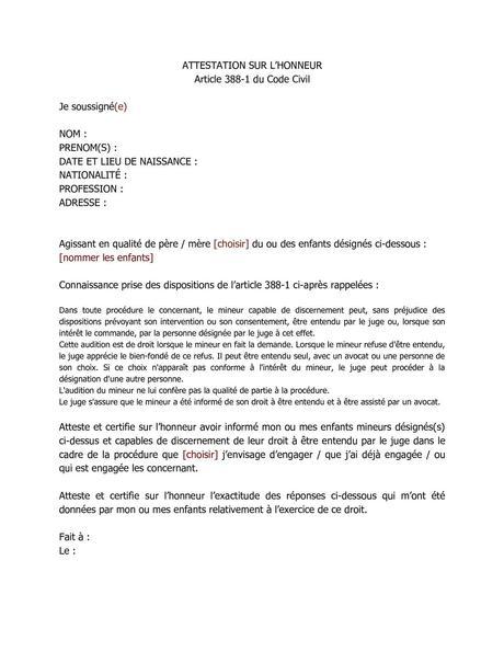 PDF] Modele Attestation Sur L Honneur Garde Parentale