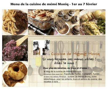 menus de la semaine du 1er au 7 février