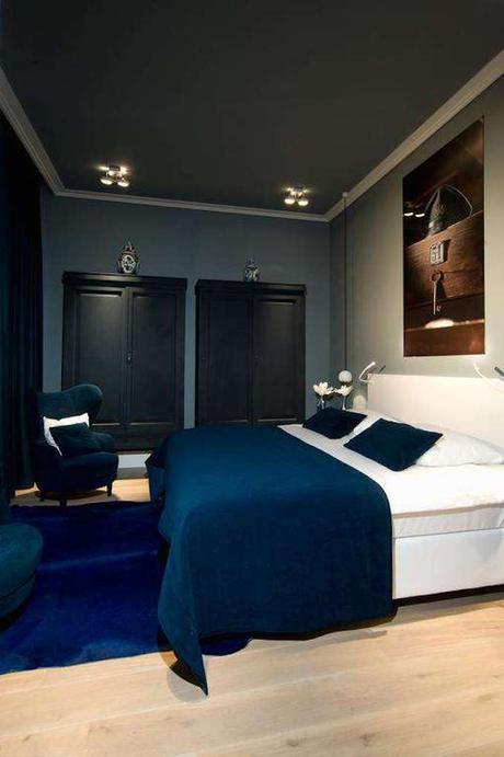 blog déco chambre design contemporain vintage bleu marine velours