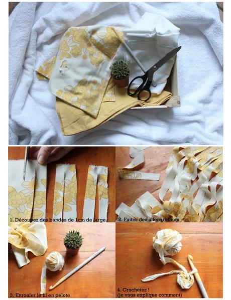 cache pot tricot tissu vieux jaune blanc tuto - blog déco - clem around the corner