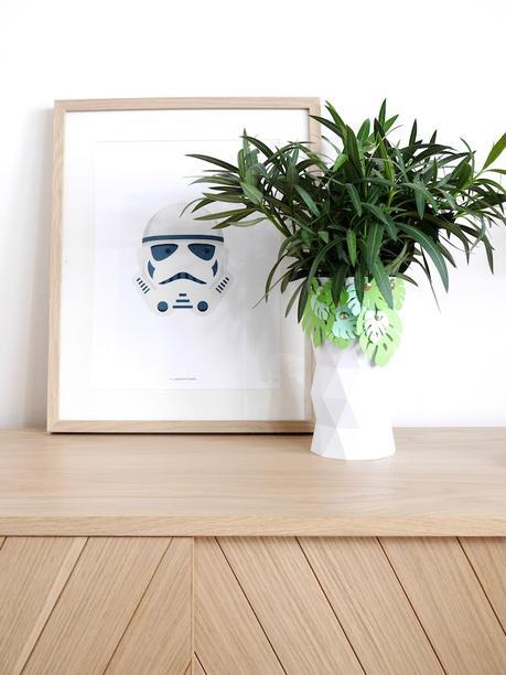 cache pot vase haut blanc imprimante 3D feuille papier tableau - blog déco - clem around the corner
