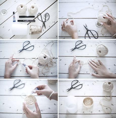 cache pot corde naturelle tie and dye marron blanc tuto facile - blog déco - clem around the corner