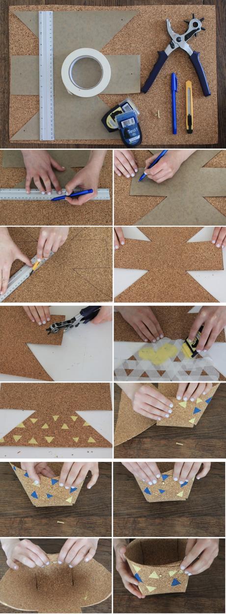 cache pot liège tuto bricolage scotch peinture triangle règle ciseaux - blog déco - clem around the corner