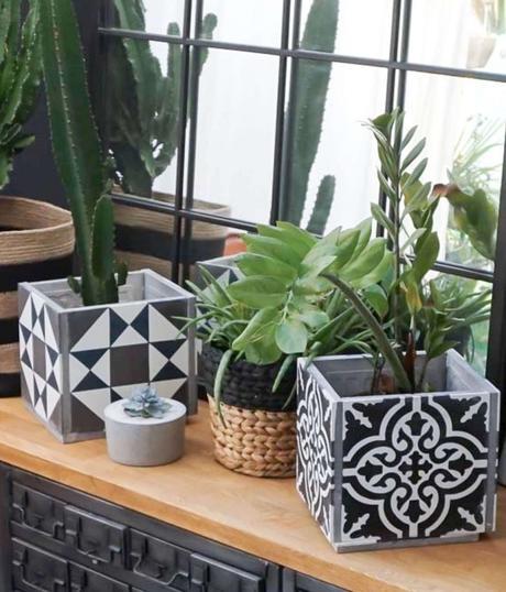 cache pot ciment noir blanc style vintage carré - blog déco - clem around the corner
