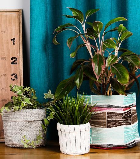 cache pot tissu rayure blanc noir marron rose turquoise plante verte - blog déco - clem around the corner