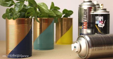 cache pot diy conserve boite tuto bombe spray peinture plante forme géométrique - blog déco - clem around the corner