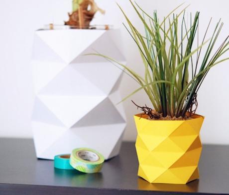 cache pot vase origami papier jaune style ananas blanc pot - blog déco - clem around the corner