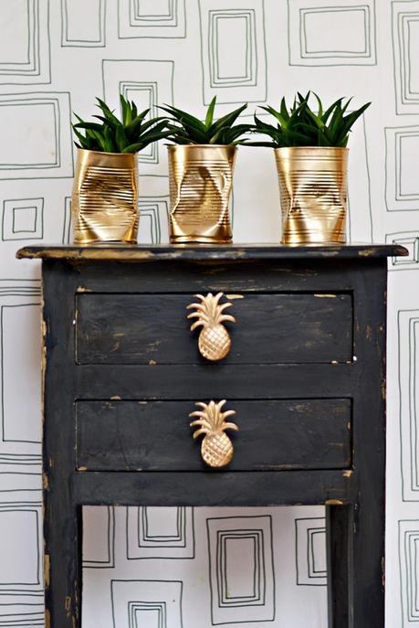 cache pot conserve doré style industriel meuble bois poignet ananas - blog déco - clem around the corner