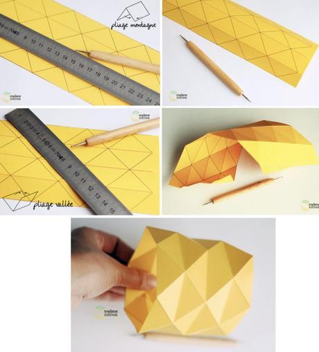 cache pot origami jaune tuto pliage feuille règle facile patron - blog déco - clem around the corner