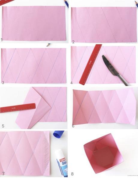 cache pot papier kraft origami rose diy vase facile pliage - blog déco - clem around the corner