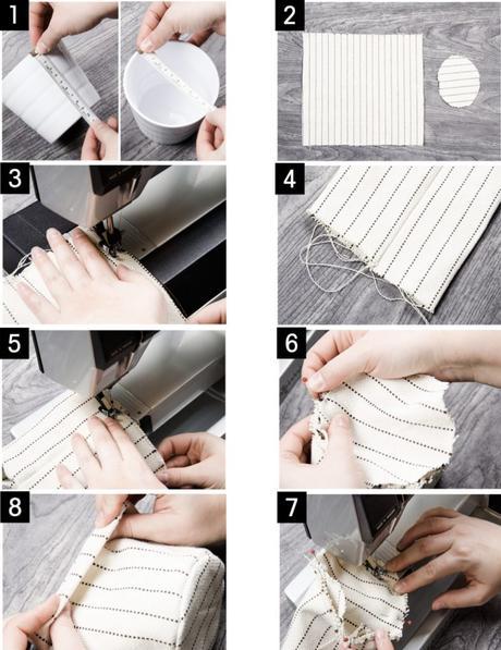 cache pot diy tuto tissu rayure blanc machine coudre - blog déco - clem around the corner