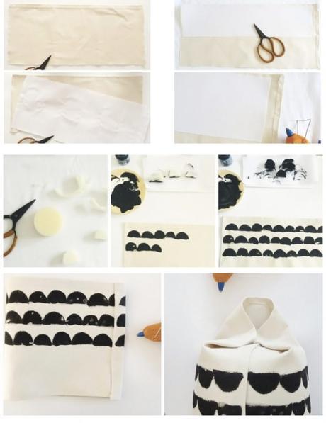 cache pot tuto style scandinave tissu blanc peinture noir - blog déco - clem around the corner