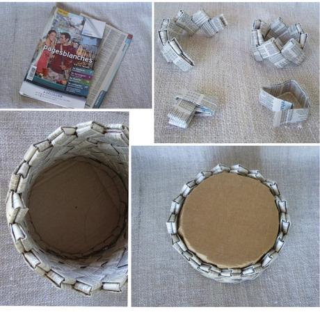 cache pot tuto magazine papier recyclage carton diy - blog déco - clem around the corner